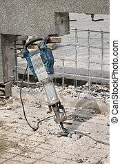 construcción, sitio, Demoler, con, eléctrico,...