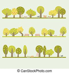 Set of different fruit trees