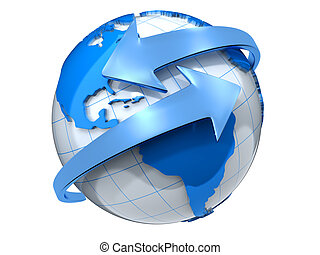 Earth with arrows - Two arrows surrounding Earth globe - 3d...