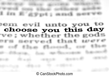 Scripture Quote Choose this Day - Detail closeup of New...