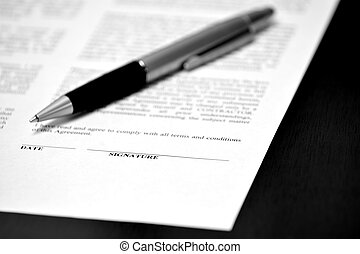 Paper with Signature Line Contract Pen Closing Deal - Pen on...