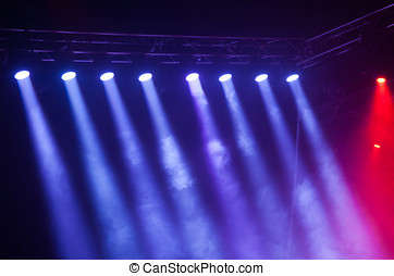 Stage lights on concert Lighting equipment with multicolored...