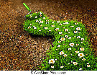 Gardening - Paint roller painting with grass and flowers on...