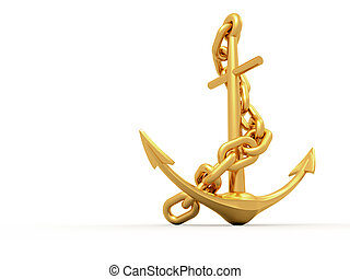 Gold Anchor - Gold anchor on white background - 3d render