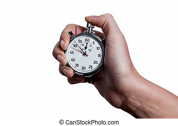hand with stop watch - a hand holding a stopwatch.