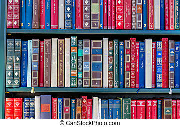books in a library - many different books in a library....