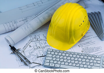 house plan with a construction worker helmet - an...