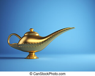 Magic Alladin lamp - Golden magic Aladdin lamp on blue...