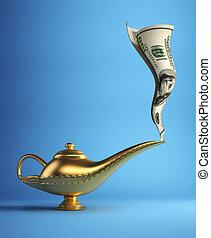 Magic lamp with money - Golden magic Aladdin lamp smoking...