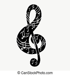 Treble clef  - Treble clef, musical note. Vector