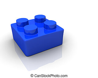 Lego toy block - Blue toy block on white backround - 3d...