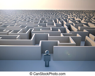 Maze - Man standing at the entrance of a huge maze - 3d...