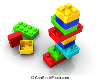 Logo toy blocks - Colorful lego toy blocks on white...