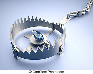 Dangerous temptation - Bear trap with diamond as bait - 3d...