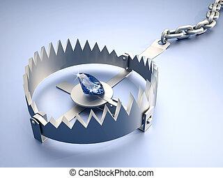 Dangerous temptation - Bear trap with diamond as bait - 3d...