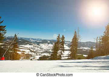 bello, Ricorso, inverno, montagne, sciare