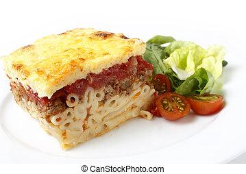 Pastitsio and salad