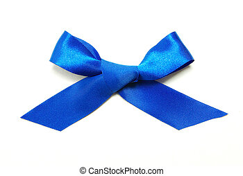 blue bow - blue holiday bow on white background