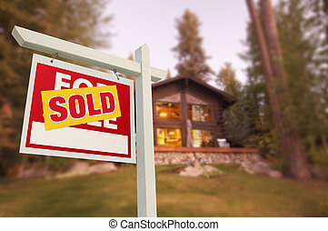 Sold Home For Sale Sign and Beautiful Log Cabin - Sold Home...