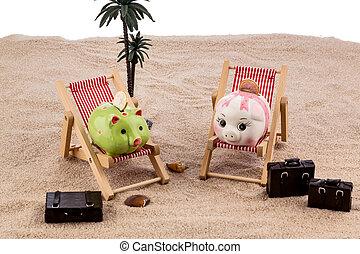 piggy bank in a deck chair - a piggy bank is in a deck...