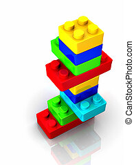Colorful lego toy blocks on white backround - 3d render -...