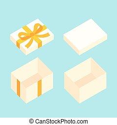 Christmas Box - White open box for gifts with golden bow...
