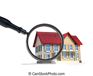 House and magnify glass - Illustration of house and magnify...