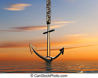 Anchor on sea - Illustration of anchor going down into the...