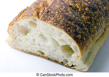 Italian fresh backed brick oven bread with crunchy crust on...