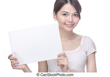 Asian woman holding blank sign