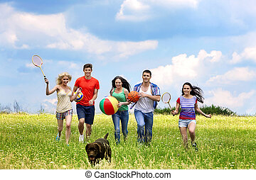 Group people summer outdoor. - Happy group people summer...