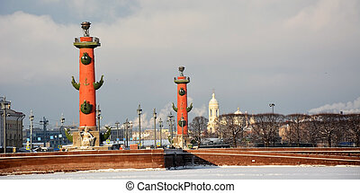 Famous rostral columns in the Saint-Petersburg, Russia