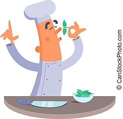 caricatura, cozinheiro, cheirando, a, ervas,
