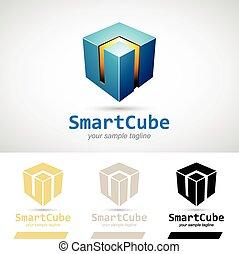 Blue Shiny 3d Cube Logo Icon Vector Illustration