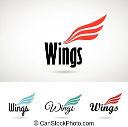 Colorful Wing Shape Logo Icon Vector Illustration