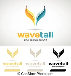 Yellow and Blue Fish Tail logo Icon Vector Illustration