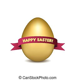 Easter golden egg with red ribbon isolated on white background