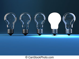 Lit bulb in a row of dim one - 3d render