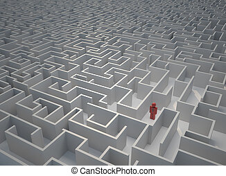 Lost in maze - Icon of a man lost in a huge maze - 3d render