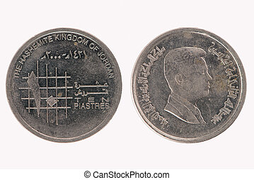 10 jordanian piasters coin closeup isolated on white...
