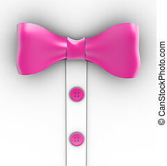 Pink bow tie and buttons on white background - 3d...