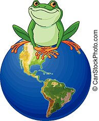 Frog Earth Day - Frog sits on Earth at the Earth Day
