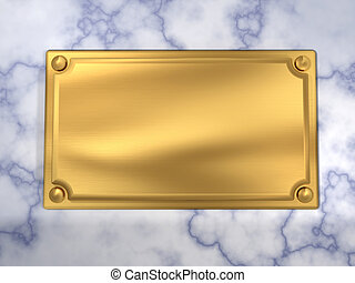 Nameplate sign - Modern golden nameplate blank sign on wall...