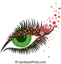 Female green eye with small pink sakura flowers - Female...