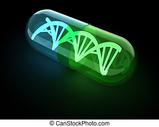 DNA capsule - Dna structure inside an antibiotic capsule -...