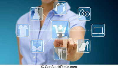 Woman shopping online - Woman using digital interface to...