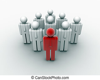 Teamwork and leader - People icons arranged in a teamwork...