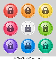 Vector set of buttons with locks.