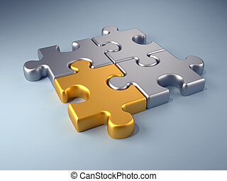 Golden piece - Golden jigsaw piece connected in puzzle...