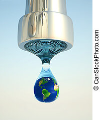 Earth in drop - Earth globe in last drop of environment...